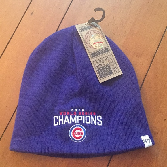 NWT Chicago Cubs 2016 World Series knit hat one SZ e9da08da437